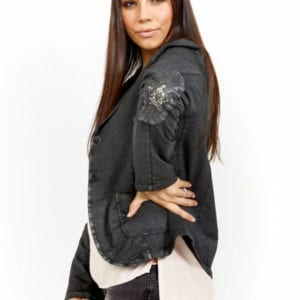 Lila Cotton Matte Black Star Sequin Patch Blazer